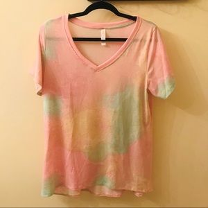 Large LuLaRoe Christy Tee tie Dye Cotton Candy